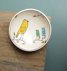 Small ceramic blue and yellow bird bowl spring by catherinereece