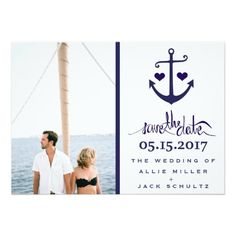 Nautical Blue Anchor Photo Wedding Save the Dates