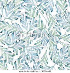 seamless pattern consisting of decorative striped leaves, watercolor