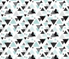 © Little Smilemakers Studio - Maaike Boot You are welcome to use our fabric for commercial usage, however, please credit Little Smilemakers Studio. Check our website for all license info, rates and terms.  Super fun abstract geo pattern. Hand drawn aztec folk detailing in black white and blue and pink. Fun print for you fashion and home textiles and baby nursery.