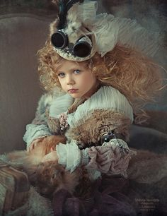 Little Steampunk princess with a rabbit Steampunk Kids, Steampunk Cosplay, Steampunk Couture, Steampunk Fashion, Bunny Costume, Steampunk Accessories, Kid Poses, Foto Art, Photographing Kids