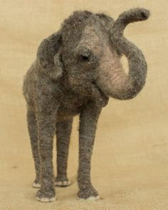 Chunni the Asian Elephant: Needle Felted Animal Sculpture by The Woolen Wagon