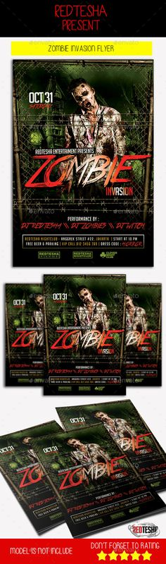 Zombie Halloween Party  Flyer Template  Zombie Halloween Party