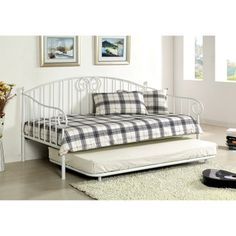Enitial Lab Traditional Link Spring Wrought Iron Style Daybed with Trundle | Overstock.com  $574.99