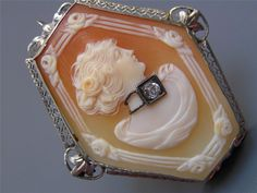 LARGE Vintage Art Deco 14kt White Gold Carved Cameo Pendant Brooch Pin