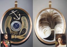 A double sided 18th c gold locket. On one side a lock of hair from the dashing Admiral Lord Nelson and the other side a lock of Lady Emma Hamilton's with whom he had a love affair and scandalized a nation.