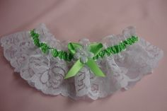 green wedding garters | ... Garter, Sublime green Wedding Garter, Lime Bridal Garter, prom garter