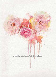Peonies+/+8+x+10+fine+art+watercolor+print+by+ArtByDianaToma,+$30.00