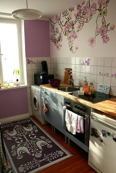 Purple kitchen..I love the wall decor