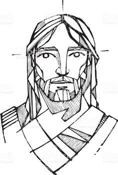 Jezus Chrystus twarz stockowa ilustracja wektorowa royalty-free