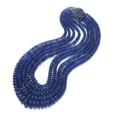 Tanzanite, sapphire and diamond necklace, Michele della Valle Designed as five rows of graduated tanzanite beads, the clasp set with oval s. Gems Jewelry, Fine Jewelry, Women Jewelry, Italian Jewelry, Royal Jewels, Diamond Pendant Necklace, Blue Earrings, Metal, Tanzania