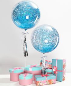 """$15.99 18"""" Bubble Glitter Balloons for Party Supplies Transparent Balloon with Tassel No Need Helium Artcraft DIY Gift (No Gift Box) Design by Eanjia (Blue Glitter) Design inspired by Movie frozen . This instagram worthy balloon is sure to impress the birthday girl or boy. Filled with blue glitter, it's a gift they'll never forget."""