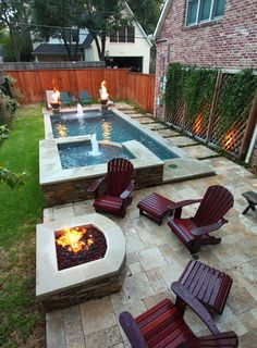 small backyard pool and spa