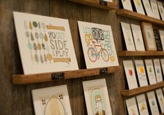 wooden shelves by 1canoe2 letterpress at the National Stationary show. beautiful.