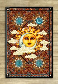 """Sun Moon Tapestry Wall Hanging 30""""x45"""" inches signed by Artist Dan Morris titled Heavenly"""