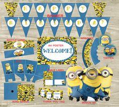 Mira este artículo en mi tienda de Etsy: https://www.etsy.com/es/listing/243984191/minions-decoracion-fiesta-kit-imprimible