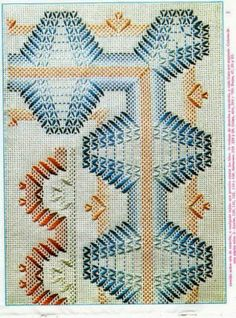 Lú cantinho do bordado e da cozinha: VAGONITE Bargello Needlepoint, Needlepoint Stitches, Needlework, Swedish Embroidery, Towel Embroidery, Cross Stitch Embroidery, Embroidery Patterns, Swedish Weaving Patterns, Chicken Scratch Embroidery