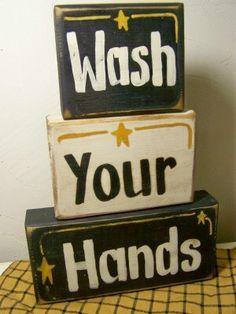 Wash Your Hands sign STACKING BLOCKS bathroom decor