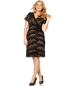 Marina Plus Size Dress, Cap Sleeve Lace Cocktail Dress