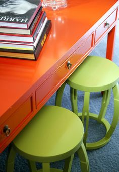 Orange across desk w/green stools. Green And Orange, Orange Color, Yellow, Green Theme, Orange Crush, Big Girl Rooms, House Rooms, Living Rooms, Home Furniture
