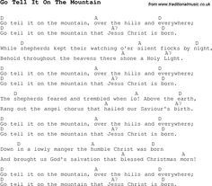 Christmas Songs and Carols, lyrics with chords for guitar banjo for Go Tell It On The Mountain