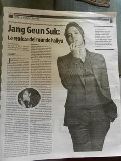 Jang Keun Suk, in a newspaper of Venezuela! The title says: Jang Geun Suk: royalty of the hallyu world