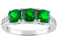 1.53ctw Square Cushion Russian Chrome Diopside With .18ctw Round White Zircon Sterling Silver Ring.