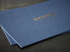 Lovely combination of Deep Blue and Copper! Birth Announcement Card GEORGE - Hotfoil 1 colour on Colorplan New Blue 540g