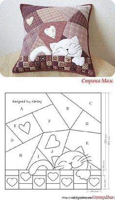 patchwork and applique Cat Quilt Patterns, Applique Patterns, Applique Quilts, Patchwork Quilting, Sewing Patterns, Hexagon Patchwork, Scraps Quilt, Patchwork Cushion, Small Quilts