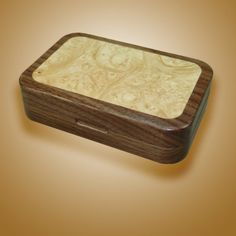 Walnut Fly Box with Maple Burl Inlay by SouthernCraftsmen on Etsy, $95.00...Beautiful fly box