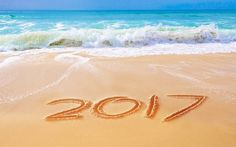2017, beach, ocean, sand, New 2017 Year
