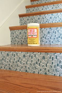 Transform Stairs with Fabric by Plaster and Disaster featured on @Remodelaholic