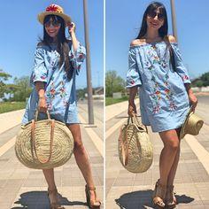 Vestido mangas trompeta - Temporada: Primavera-Verano - Tags: look, ootd, fashion, moda, blogger, influencer - Descripción: look con vestido denim bordado low cost #FashionOlé