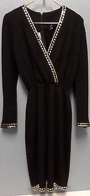St-John-Evening-Knit-Paillette-Long-Sleeve-Gold-Black-Dress-Deep-V-Neck-Sz-4