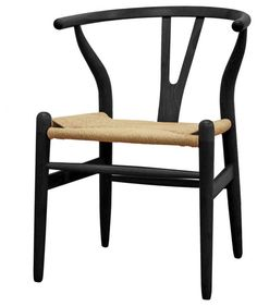 Baxton Studio Wishbone Chair - Black Wood Y Chair transitional-dining-chairs
