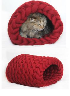 Cat bed, Chunky bed tunnel, Cat House, Cat, Chunky knit cat bed, Cat beds, Chunky Cat bed, Pet bed, Dog bed, Pet house, Chunky knits, Pet by JennysKnitCo on Etsy https://www.etsy.com/listing/275573414/cat-bed-chunky-bed-tunnel-cat-house-cat
