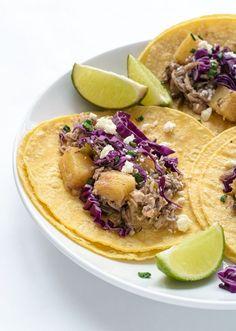 Pineapple Slow Cooker Jerk Chicken Tacos