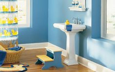 20 Bathroom Paint Colors To Inspire Your Redesign: Super-Blue Bathroom Paint Colors - Just for Kids?