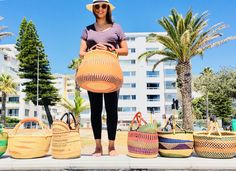 These gorgeous baskets can be used for storage, to display your indoor plants or take them with you to the fruit and veg market or the beach.  Leather handle for reinforcement, comfort and accessibility.