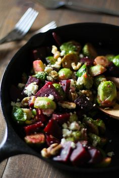 Brussels Sprouts Recipes | Honey-Glazed Brussels Sprouts and Beets with Blue Cheese and Walnuts