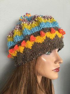 Beanie Slouch Hand Knit Designer Fashion Multicolor Fair-Isle Hip Ski Winter  | eBay