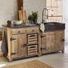 Creative ideas for DIY pallet kitchen cabinets. #palletkitchencabinets