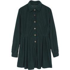 Pleated Hem Shirt Green Dress