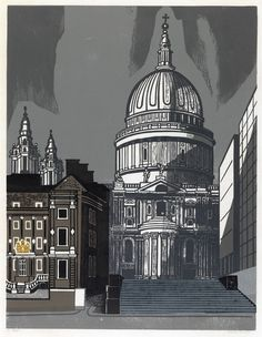 """""""St Pauls"""" by Edward Bawden, part of the Nine London Monuments series of linocuts commissioned by Editions Alecto in 1966"""
