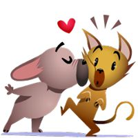 Mugsy In Love Facebook Stickers - Stickers Emoticon