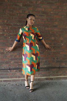 Geo Midi Dress ~African fashion, Ankara, kitenge, African women dresses, African prints, African men's fashion, Nigerian style, Ghanaian fashion ~DKK
