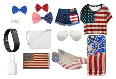 """""""Oh Say Does That Star Spangled Banner Yet Wave"""" by rawesome101 ❤ liked on Polyvore featuring Casetify, Giuseppe Zanotti, Linda Farrow, Pottery Barn, Essie, Fitbit, Furla, Forever 21, L. Erickson and Missoni"""