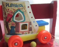 SALE VINTAGE Playskool Fisher Price Wooden Shoe Roll Toy Old Lady Who Lived in a Shoe Retro PlaySchool