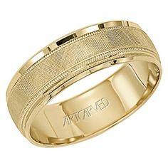 14K YG Cross Hatch Design w/Milgrain | Men's Gold Wedding Bands from The Ring  | Round Rock, TX