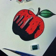My new tattoo sketch: New York City, The big apple.